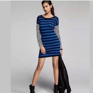 EXPRESS ZIPPER MIX STRIPE SWEATER DRESS